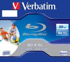 Verbatim BD-R. Dual Layer Printable. 50GB. jewel box. 43736. 6x. 1 ks. pro archivaci dat