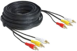Delock audio a video kabel 3 x RCA samec - samec / 20m