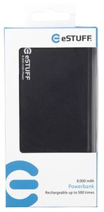eSTUFF POWER BANK 8.000mAh / IN: 5V/1A / OUT:5V/2A 1A / 30cm microUSB kabel / černá