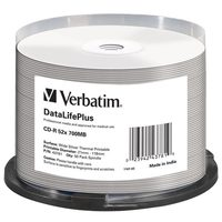 Verbatim CD-R 700MB 50ks / Thermal Printable / 52X / spindle