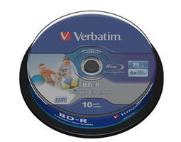 Verbatim BD-R Blu-Ray 25GB 10ks / 6x / HTL WIDE printable / spindle