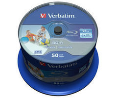 Verbatim BD-R SL 25GB 50ks / Hard Coat protective layer Wide Inkjet Printable / 6x / pro archivaci dat / Spindle