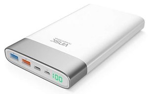 Vinsic QC 3.0 Quick Charge Power Bank 20000mAh bílá / 2x USB / 1x USB Type-C / 3A