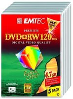 EMTEC DVD+RW 4.7GB  5ks / 4x / Videobox / výprodej
