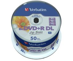 Verbatim 50ks DVD+R 8.5GB 8x / Injekt Printable / spindl case