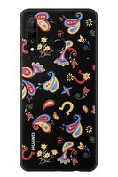 HUAWEI Original Colorful TPU Pouzdro Flower Black pro P30 Lite / EU Blister
