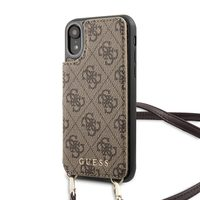 GUESS 4G Crossbody Cardslot Kryt pro Apple iPhone XR hnědá