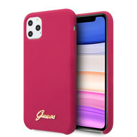 GUESS Silicone Vintage Zadní Kryt pro Apple iPhone 11 Pro Max Burgundy