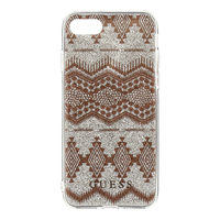GUESS Ethnic Chic Tribal 3D TPU Pouzdro Taupe pro Apple iPhone 5S & SE vzor