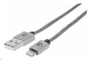 Manhattan iLynk Lightning Cable Nylon 1m pro iPad/iPhone / stříbrný