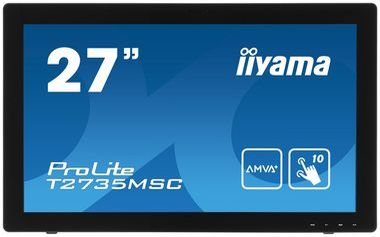 "LCD Monitor 27"" IIYAMA T2735MSC-B2 / AMVA+ LED / 1920 x 1080 / 5ms / 260cd-m2 / DVI / HDMI / VGA / USB / Repro / webcam  / Černý"