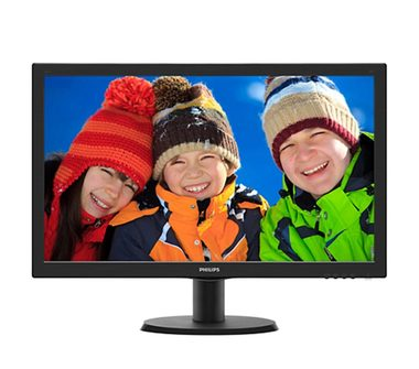 "LCD Monitor 23.6"" PHILIPS 243V5LSB5 černá / TFT-LCD / 1920 x 1080 / LED / 16:9 / 5ms / 10mil:1 / 250cd-m2 / VGA / DVI"