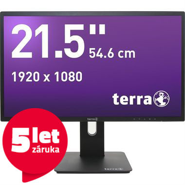 "LCD Monitor 21.5"" TERRA LED 2256W DP GREENLINE PLUS černá / LED / 1920 x 1080 / IPS / 16:9 / 5ms / 30M:1 / 250cd-m2 / HDMI+DP+VGA"