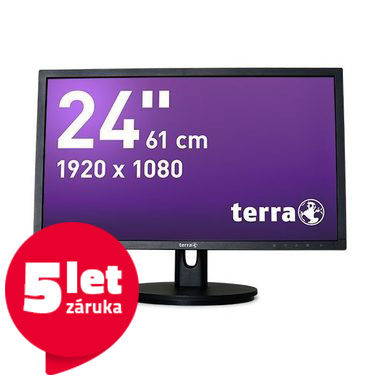 "LCD Monitor 24"" TERRA LED 2435W HA GREENLINE PLUS černá / LED / 1920 x 1080 / TN / 16:9 / 5ms / 20M:1 / 250cd-m2 /HDMI+DP+VGA/VESA"