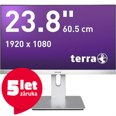 "LCD Monitor 23.8"" TERRA LED 2462W PV GREENLINE PLUS stříbrná-černá / LED / 1920 x 1080 / AMVA /16:9/4ms/30M:1/250cd-m2/DVI+HDMI+DP"