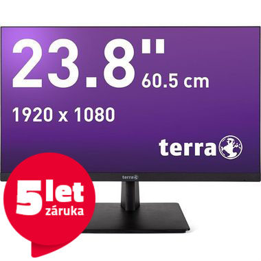 "LCD Monitor 23.8"" TERRA LED 2463W GREENLINE PLUS černá / LED / 1920 x 1080 / PLS / 16:9 / 5ms / 30M:1 / 250cd-m2 / HDMI+DP / VESA"