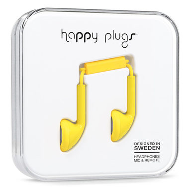 Happy Plugs Earbud Yellow / Sluchátka do uší s mikrofonem a ovladačem / Jack 3.5mm / žlutá