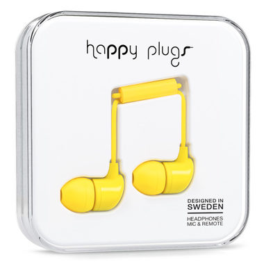 Happy Plugs In-Ear Yellow / Sluchátka do uší s mikrofonem a ovladačem / Jack 3.5mm / žlutá