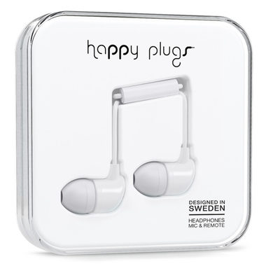 Happy Plugs In-Ear White / Sluchátka do uší s mikrofonem a ovladačem / Jack 3.5mm / bílá