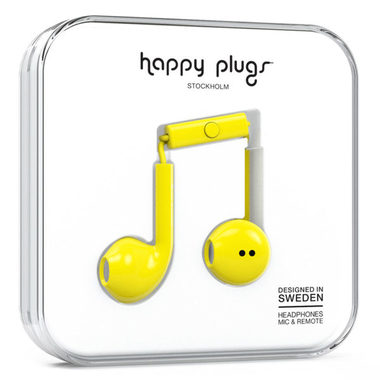 Happy Plugs Earbud Plus Yellow / Sluchátka do uší s mikrofonem a ovladačem / Jack 3.5mm / žlutá
