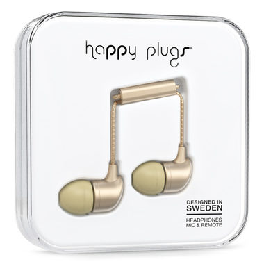 Happy Plugs In-Ear Matte Deluxe Champagne / Sluchátka do uší s mikrofonem a ovladačem / Jack 3.5mm / zlatá