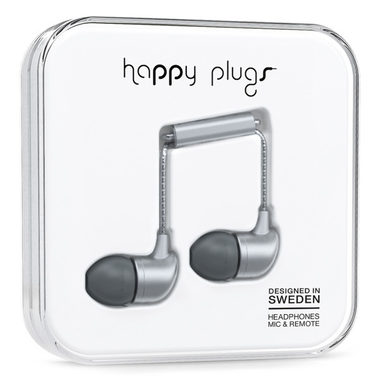 Happy Plugs In-Ear Matte Deluxe Space Grey / Sluchátka do uší s mikrofonem a ovladačem / Jack 3.5mm / vesmírně-šedá