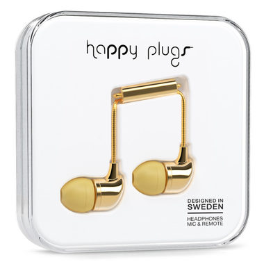 Happy Plugs In-Ear Deluxe Gold / Sluchátka do uší s mikrofonem a ovladačem / Jack 3.5mm / zlatá
