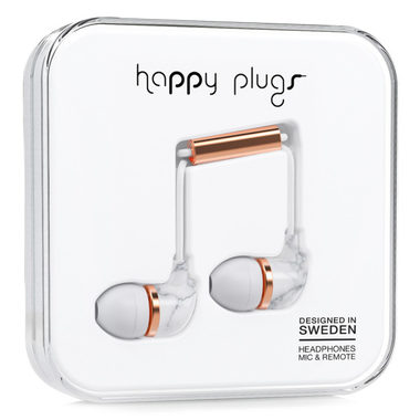 Happy Plugs In-Ear Unik White Marble Rose Gold / Sluchátka do uší s mikrofonem a ovladačem / Jack 3.5mm / bílá