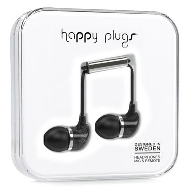 Happy Plugs In-Ear Unik Black Saint Laurent Marble / Sluchátka do uší s mikrofonem a ovladačem / Jack 3.5mm / černá