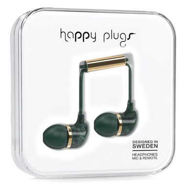 Happy Plugs In-Ear Unik Jade Green Marble / Sluchátka do uší s mikrofonem a ovladačem / Jack 3.5mm / zelená