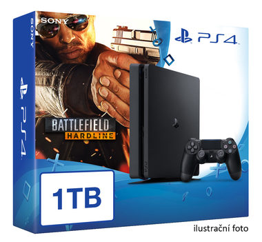 SONY PlayStation 4 - 1TB slim Black CUH-2016B + Battlefield Hardline Deluxe edition