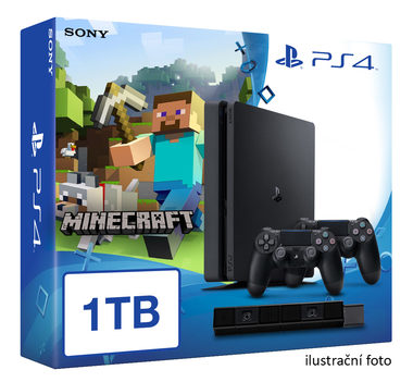 SONY PlayStation 4 - 1TB slim Black CUH-2016B + Minecraft + camera + 2x Dualshock