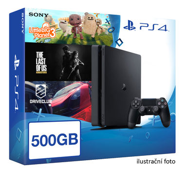 SONY PlayStation 4 - 500GB Slim Black CUH-2016A + Little Big Planet 3 + DriveClub + The Last of US: Remaster - AKČNÍ CENA