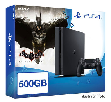 SONY PlayStation 4 - 500GB Slim Black CUH-2016A + Batman Arkham Knight