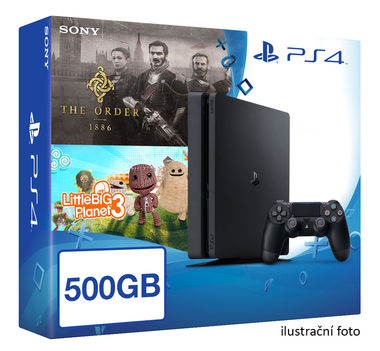 SONY PlayStation 4 - 500GB Slim Black CUH-2016A + The Order 1886 + LittleBigPlanet 3