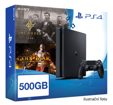 SONY PlayStation 4 - 500GB Slim Black CUH-2016A + God of War III Remastered + The Order 1886