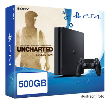SONY PlayStation 4 - 500GB Slim Black CUH-2016A + Uncharted Collection