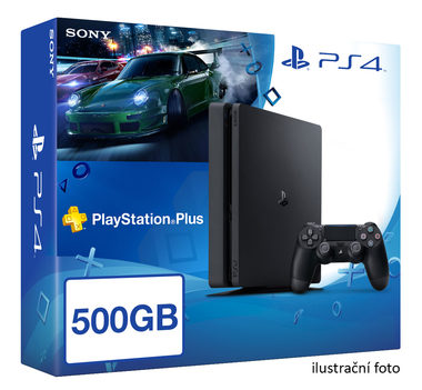 SONY PlayStation 4 - 500GB Slim Black CUH-2016A + Need for Speed 2015 + PS Plus 90dní