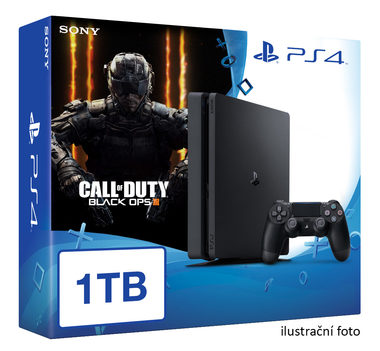 SONY PlayStation 4 - 1TB slim Black CUH-2016B + Call of Duty: slim Black Ops 3
