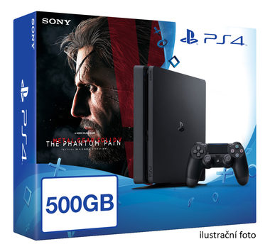 SONY PlayStation 4 - 500GB Slim Black CUH-2016A + Metal Gear Solid V: The Phantom Pain