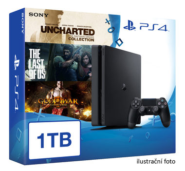 SONY PlayStation 4 - 1TB slim Black CUH-2016B + Uncharted Collection + The Last of Us + God of War 3