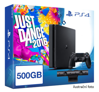 SONY PlayStation 4 - 500GB Slim Black CUH-2016A + Just Dance 2016 + camera