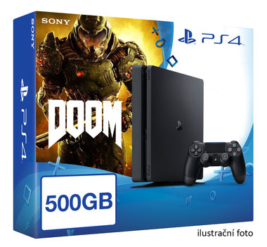 SONY PlayStation 4 - 500GB Slim Black CUH-2016A + DOOM
