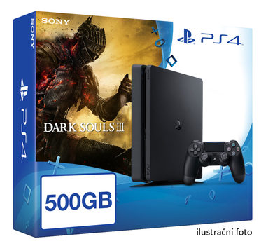 SONY PlayStation 4 - 500GB Slim Black CUH-2016A + Dark Souls III