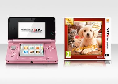 Nintendo 3DS Pink + Nintendogs + Cats - Golden Retriever  / konzole / růžový