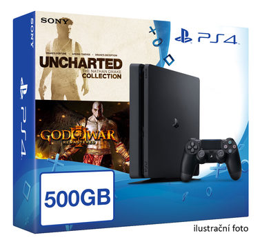 SONY PlayStation 4 - 500GB Slim Black CUH-2016A + God of War III Remastered + Uncharted Collection