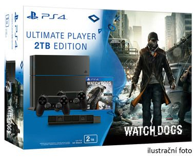 SONY PlayStation 4 - 2TB slim Black CUH-2016 + Watch dogs + camera + 2x Dualshock