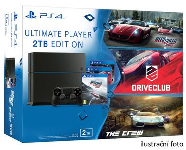 SONY PlayStation 4 - 2TB slim Black CUH-2016 + NFS Rivals + Driveclub + The Crew