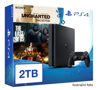 SONY PlayStation 4 - 2TB slim Black CUH-2016 + Uncharted Collection + The Last of Us + God of War 3