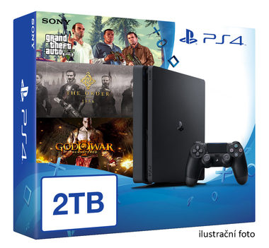 SONY PlayStation 4 - 2TB Black CUH-1216A + GTA V + The Order + God of War 3 Remastered